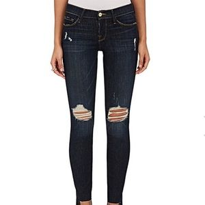 Frame le skinny de Jeanne raw stagger distressed